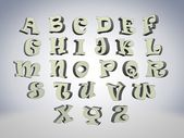 3d yazı tipi, duran büyük beyaz harfler — Stok fotoğraf