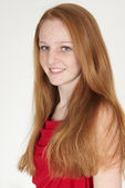 Head Shot of Teen Red Head Girl in Dress — Stock Photo
