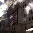 New York City (United States) - Sunrays and smoke on Wall Street — Stock Photo