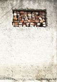 False bricks window in old wall — Stock Photo