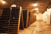 Row of bottle collection wine — Stock Photo
