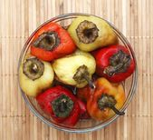 Colorful bell peppers baked with oil and vinegar — Stock Photo