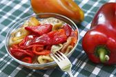 Colorful salad of roasted peppers with oil — Stock Photo