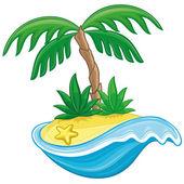 Vector illustration. Cartoon island. — Stock Vector
