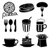 Fast food black icons. — Stockvektor