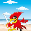 Stock Vector: Parrot on the beach.