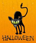 Halloween illustratie. zwarte kat — Stockvector