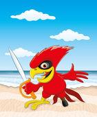 Papagei am Strand. — Stockvektor