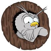 Cartoon owl on white. — Stock Vector