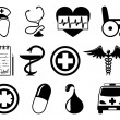 Stock Vector: Medical icons on white.