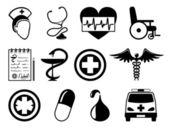 Medical ikony biały. — Wektor stockowy