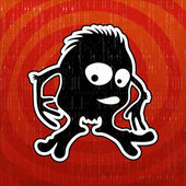 红色背景上的怪物. — 图库矢量图片