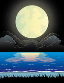 Ilustración de la naturaleza. playa de noche. — Vector de stock