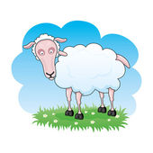 Vector illustration. Cartoon sheep. — Vector de stock