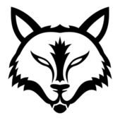 Wolf sign on white. — Vector de stock
