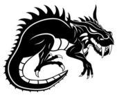 Schwarz dragon auf weiß. — Stockvektor