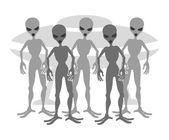 Aliens on white background. — Stock Vector