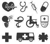 Medical icons on white background. — Vettoriale Stock