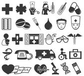 Medical icons on white background. — 图库矢量图片