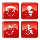 Medicale icone rosse. — Vettoriale Stock