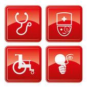 Medical ikony czerwony. — Wektor stockowy
