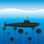 Vector illustration. Submarine. — Stock Vector