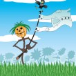 Cartoon illustration. Scarecrow. — Stock Vector
