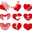 Red hearts on white background. — Stock Vector