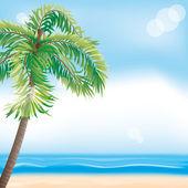 夏のイラスト。熱帯のビーチ — ストックベクタ