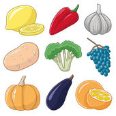 Vegetables and fruits on white background. — Stockvector