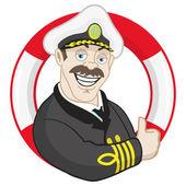 Cartoon smiling captain. — Stock Vector