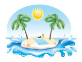 Ilustración de isla tropical. — Vector de stock