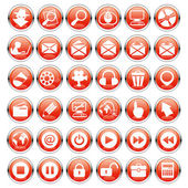 Red icons. Computer concept. — Stock Vector