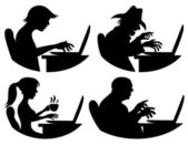 Vector silhouettes. People and computer. — Stock Vector