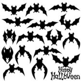Bat silhouettes on white. — Stock Vector