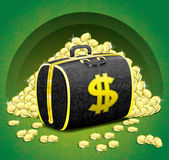 Money bag and gold coins. — Stock Photo