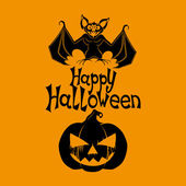 Happy Haloween poster. Bat and pumpkin. — Vector de stock