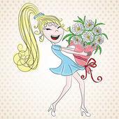 Kvinna med blommor. — Stockvektor