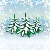 Winter nature. Trees. — Stock Vector