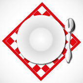 White plate and spoon. — Stock Vector