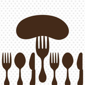 Sausage on fork. — Stockvector