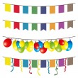 Garlands. Flags and balloons. — Stock Vector