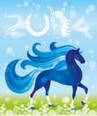 Blue horse, the symbol of new year. — Stock Vector