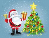 Santa Claus and christmas tree. — Stock Vector