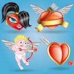 Vector icons. Romantic set. — Stock Vector