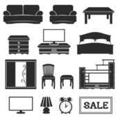 Vector set. Furniture icons. — Stock Vector
