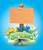 Wooden sign and spring flowers. — Stockvector