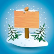 Wooden sign on snow. — Stock Vector