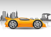 Orange car on city background. — Vector de stock