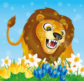 Lion and flowers. — Stock Vector